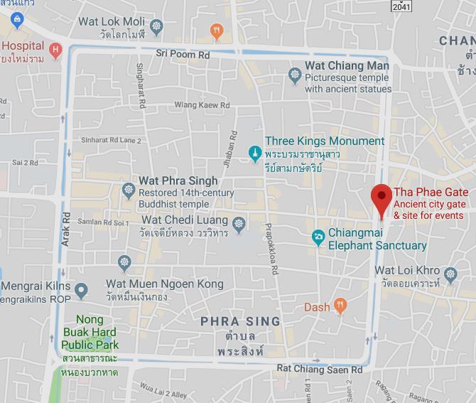 La zona amurallada de Chiang Mai